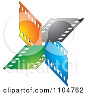 Clipart Orange Black Blue And Green Film Strips Royalty Free Vector Illustration