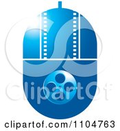 Clipart Blue Computer Mouse With A Film Strip And Reel Royalty Free Vector Illustration