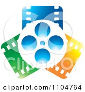 Clipart Movie Film Reel And Blue Orange And Green Strips Royalty Free Vector Illustration by Lal Perera