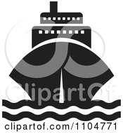 Clipart Black And White Cruise Ship Royalty Free Vector Illustration by Lal Perera