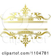 Clipart Ornate Gold And Crown Wedding Frame Royalty Free Vector Illustration