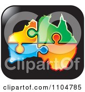Clipart Colorful Jigsaw Puzzle Pieces Forming Australia On A Black Square Royalty Free Vector Illustration