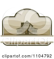 Clipart Country Farm House With Hills And Copy Space In A Border Royalty Free Vector Illustration by Lal Perera