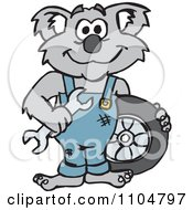 Clipart Happy Auto Mechanic Koala With A Wrench And Tire Royalty Free Vector Illustration by Dennis Holmes Designs