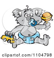 Clipart Grumpy Baby Koala With A Pacifier Toy Car And Rattle Royalty Free Vector Illustration