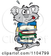 Clipart Frustrated Koala Carrying A Stack Of Books Royalty Free Vector Illustration by Dennis Holmes Designs