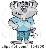 Clipart Happy Koala Standing With Hangers Royalty Free Vector Illustration