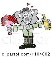 Clipart Romantic Courting Koala With Champagne And Flowers Royalty Free Vector Illustration by Dennis Holmes Designs