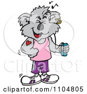 Clipart Happy Fitness Koala Listenting To An Mp3 Player Royalty Free Vector Illustration