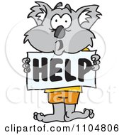 Clipart Koala Holding A Help Sign Royalty Free Vector Illustration by Dennis Holmes Designs