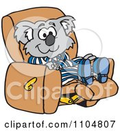 Clipart Relaxed Koala In Pajamas Resting In A Recliner Chair Royalty Free Vector Illustration by Dennis Holmes Designs