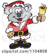 Clipart Christmas Santa Koala Ringing A Charity Bell Royalty Free Vector Illustration