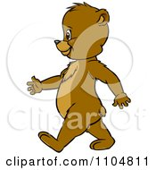 Clipart Happy Cute Bear Cub In Profile Walking Upright Royalty Free Vector Illustration