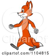 Clipart Happy Fox In Profile Walking Upright Royalty Free Vector Illustration
