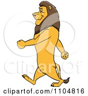 Clipart Happy Male Lion In Profile Walking Upright Royalty Free Vector Illustration