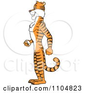 Clipart Happy Tiger In Profile Standing Upright Royalty Free Vector Illustration by Cartoon Solutions #COLLC1104823-0176