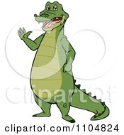 Clipart Happy Gator Standing And Waving Royalty Free Vector Illustration