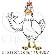 Clipart Happy White Chicken Waving Royalty Free Vector Illustration