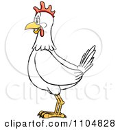 Clipart Happy White Chicken In Profile Royalty Free Vector Illustration