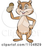 Clipart Happy Cute Chipmunk Holding A Peanut Royalty Free Vector Illustration