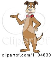 Clipart Happy Brown Dog Standing Upright And Presenting Royalty Free Vector Illustration