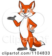 Clipart Happy Fox Presenting And Standing Upright Royalty Free Vector Illustration by Cartoon Solutions #COLLC1104833-0176