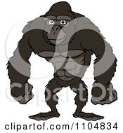 Clipart Happy Strong Gorilla Standing Royalty Free Vector Illustration