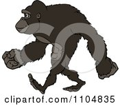 Clipart Happy Strong Gorilla Walking Upright Royalty Free Vector Illustration