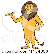 Clipart Happy Male Lion Presenting And Standing Upright Royalty Free Vector Illustration