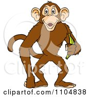 Clipart Happy Monkey Smiling And Holding A Banana Royalty Free Vector Illustration