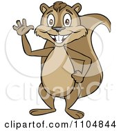 Clipart Happy Squirrel Waving And Standing Upright Royalty Free Vector Illustration