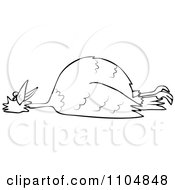 Clipart Outlined Dead Bird On Its Back Royalty Free Vector Illustration