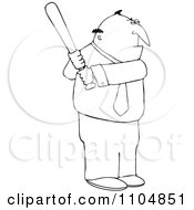 Clipart Outlined Businessman Batting Royalty Free Vector Illustration by djart