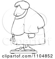 Clipart Outlined Chubby Woman In A Robe Standing On A Scale Royalty Free Vector Illustration