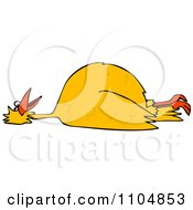 Clipart Dead Yellow Bird On Its Back Royalty Free Vector Illustration