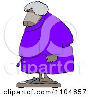 Clipart Chubby Black Woman In A Robe Standing On A Scale Royalty Free Vector Illustration