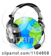 3d Globe Wearing A Customer Service Headset