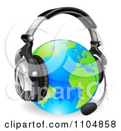 Clipart 3d Globe Wearing A Customer Service Headset Royalty Free Vector Illustration