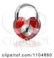 3d Shiny Red Heart Padlock And Reflection