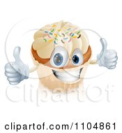 Clipart Happy Vanilla Cupcake Character Holding Two Thumbs Up Royalty Free Vector Illustration by AtStockIllustration