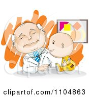 Clipart Baby Spitting Up Or Sneezing On A Doctor Royalty Free Vector Illustration by David Rey