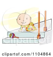 Clipart Happy Baby Crawlling Towards A Rattle On Steps Royalty Free Vector Illustration