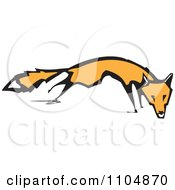 Clipart Orange Fox Woodcut Royalty Free Vector Illustration by xunantunich