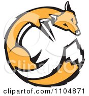 Clipart Orange Fox Circle Woodcut Royalty Free Vector Illustration