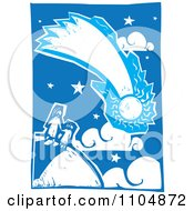 Mother And Child Watching A Comet Blue And White Woodcut