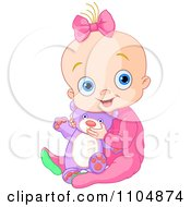 Clipart Happy Baby Girl Holding A Teddy Bear And Sitting In Pink Sleeper Pajamas Royalty Free Vector Illustration by Pushkin