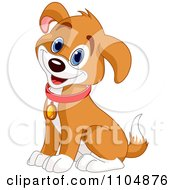 Happy Cute Beagle Puppy Dog Sitting And Wearing A Collar