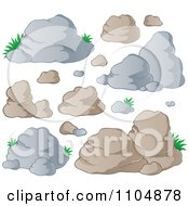 Clipart Boulders And Rocks Royalty Free Vector Illustration