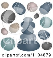 Clipart Gray Green And Brown Pebbles Rocks And Stones Royalty Free Vector Illustration