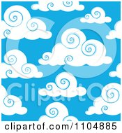 Clipart Seamless Puffy Swirl Cloud And Blue Sky Background Royalty Free Vector Illustration by visekart